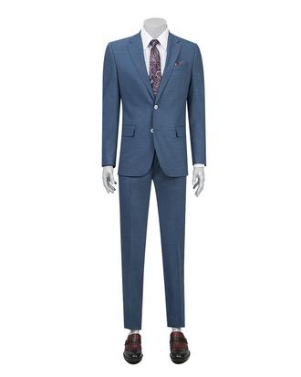 Ds Damat Slim Fit Slim Fit Lacivert Armürlü Takım Elbise - 8681779148081 | D'S Damat