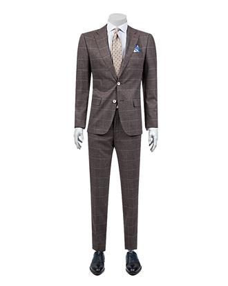 Ds Damat Slim Fit Slim Fit Bordo Desenli Takım Elbise - 8681778939741 | D'S Damat