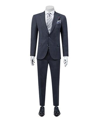 Ds Damat Slim Fit Slim Fit Lacivert Armürlü Takım Elbise - 8681779217718 | D'S Damat