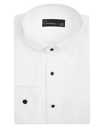 Ds Damat Slim Fit Beyaz Dokulu Smokin Gömlek - 8681779499039 | D'S Damat