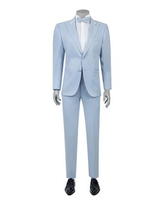 Ds Damat Slim Fit Slim Fit Mavi Jakar Desenli Smokin Takım Elbise - 8681779323709 | D'S Damat