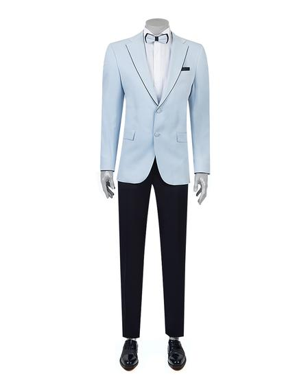 Ds Damat Slim Fit Slim Fit Mavi Düz Smokin Takım Elbise - 8681779326335 | D'S Damat