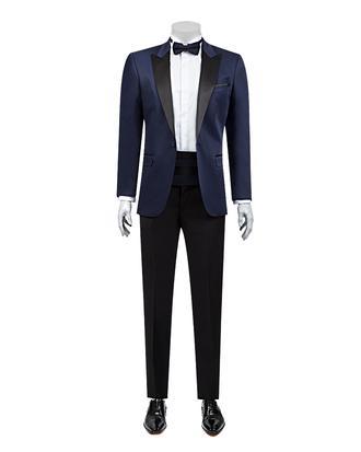 Ds Damat Slim Fit Slim Fit Lacivert Jakar Desenli Takim Elbise - 8682060624253 | D'S Damat