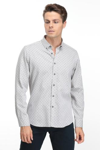 Twn Slim Fit Bej Baskılı Gömlek - 8682060836885 | D'S Damat