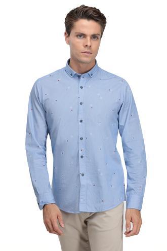 Twn Slim Fit Mavi Armürlü Gömlek - 8681779489160   D'S Damat