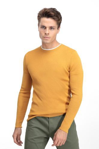 Twn Slim Fit Sarı Ribana Örgü Trıko - 8681779611257 | D'S Damat