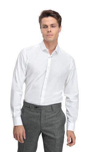 Twn Slim Fit Beyaz Armürlü Gömlek - 8681779639350   D'S Damat