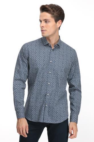 Twn Slim Fit Lacivert Baskılı Gömlek - 8682060839930 | D'S Damat