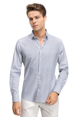 Twn Slim Fit Lacivert Baskılı Gömlek - 8681779617266   D'S Damat