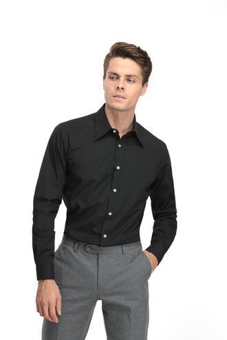 Twn Slim Fit Siyah Düz Gömlek - 8682060840752 | D'S Damat