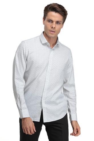 Twn Slim Fit Gri Baskılı Gömlek - 8682060016355 | D'S Damat
