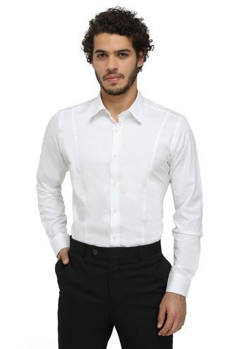 Twn Slim Fit Beyaz Armürlü Gömlek - 8681779594574 | D'S Damat