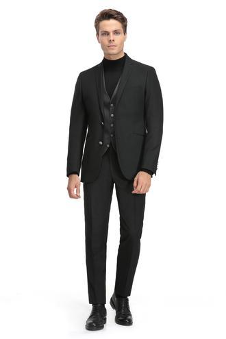 Twn Slim Fit Slim Fit Siyah Ekoseli Takım Elbise - 8681779667452 | D'S Damat