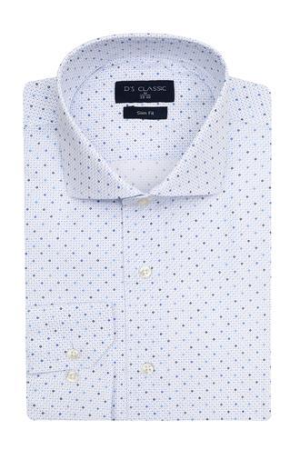Ds Damat Slim Fit Beyaz Baskılı Gömlek - 8681779751540 | D'S Damat