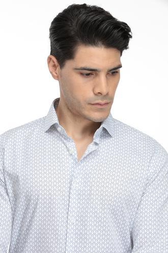 Ds Damat Slim Fit Beyaz Baskılı Gömlek - 8681779623328 | D'S Damat