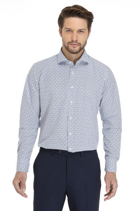 Ds Damat Slim Fit Beyaz Baskılı Gömlek - 8681779625490   D'S Damat