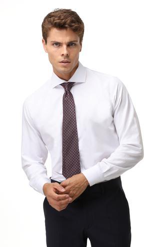 Ds Damat Slim Fit Beyaz Pötikare Gömlek - 8681779517290 | D'S Damat