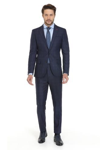 Ds Damat Slim Fit Slim Fit Lacivert Ekoseli Takım Elbise - 8681779510314 | D'S Damat