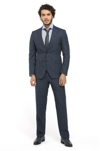 Ds Damat Slim Fit Slim Fit Lacivert Ekoseli Takım Elbise - 8681779531067 | D'S Damat