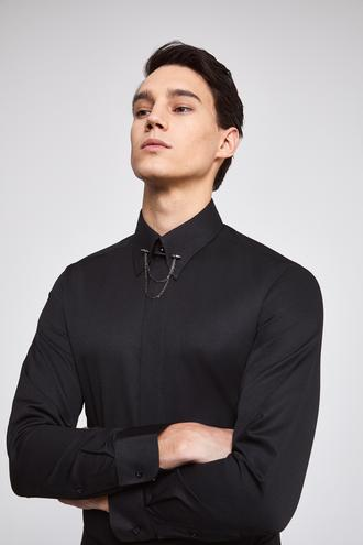 Twn Slim Fit Siyah Armürlü Gömlek - 8682060417091 | D'S Damat