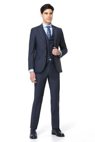 Ds Damat Slim Fit Slim Fit Lacivert Yelekli Takım Elbise - 8681779253037 | D'S Damat