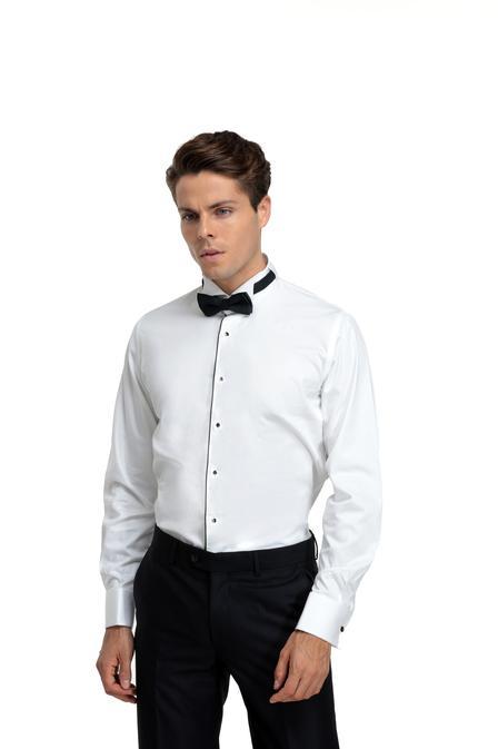 Ds Damat Slim Fit Beyaz Düz Gomlek - 8682060146427 | D'S Damat