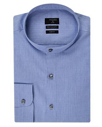 Twn Slim Fit Mavi Armürlü Gömlek - 8681494287102 | D'S Damat