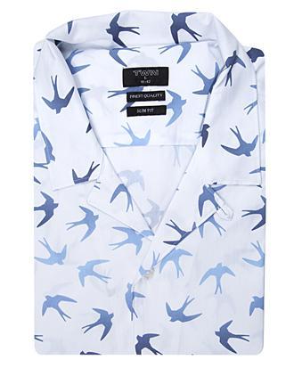 Twn Slim Fit Beyaz Baskılı Gömlek - 8681494276809 | D'S Damat