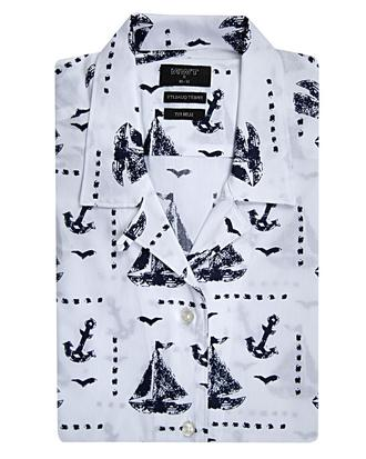Twn Slim Fit Beyaz Baskılı Gömlek - 8681494269771 | D'S Damat