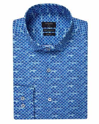 Twn Slim Fit Mavi Baskılı Gömlek - 8681494270012 | D'S Damat