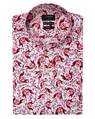 Twn Slim Fit Kırmızı Baskılı Gömlek - 8681494299662 | D'S Damat