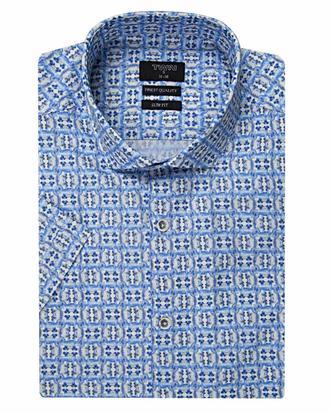 Twn Slim Fit Mavi Baskılı Gömlek - 8681494300825 | D'S Damat