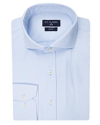 Ds Damat Slim Fit Mavi Armürlü Gömlek - 8681778118351 | D'S Damat