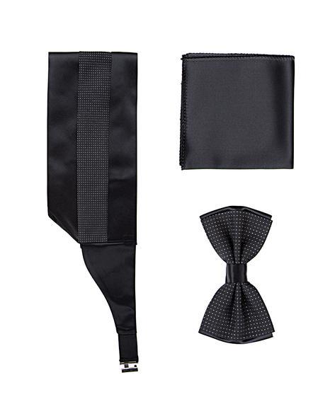 Ds Damat Siyah Düz Kusak-papyon-mendil Set - 8681494425917 | D'S Damat