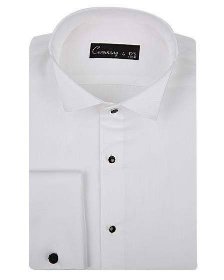 Ds Damat Slim Fit Beyaz Dokulu Smokin Gömlek - 8681494400778 | D'S Damat