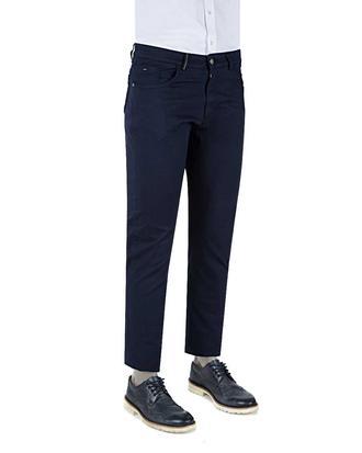 Ds Damat P 11+pilesiz Klasik Kumaş Pantolon+çift Fileto Düğmeli Slim Fit Lacivert Armürlü Chino Pantolon - 8681778179154   D'S Damat