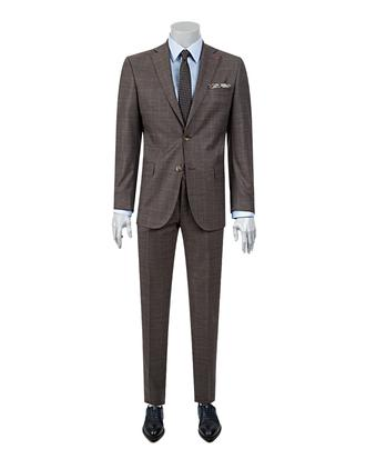 Ds Damat Regular Fit Slim Fit Kahve Kareli Takım Elbise - 8681494729695 | D'S Damat
