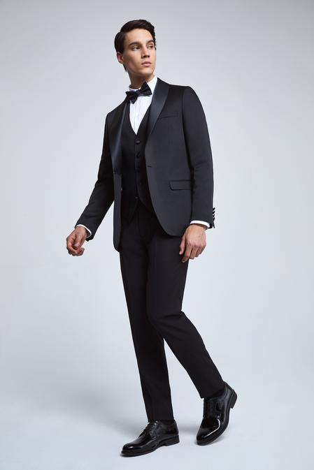 Twn Slim Fit Slim Fit Siyah Düz Smokin Yelekli Takım Elbise - 8682060135315 | D'S Damat