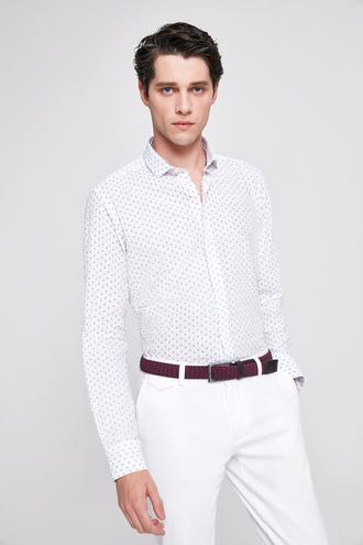 Twn Slim Fit Beyaz Baskılı Gomlek - 8681779790099 | D'S Damat