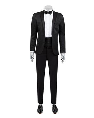 Twn Süper Slim Fit Slim  Fit Siyah Jakar Desenli Takim Elbise - 8682060615343 | D'S Damat