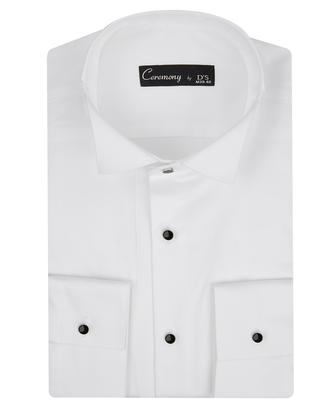 Ds Damat Slim Fit Beyaz Düz Smokin Gömlek - 8681779498353 | D'S Damat