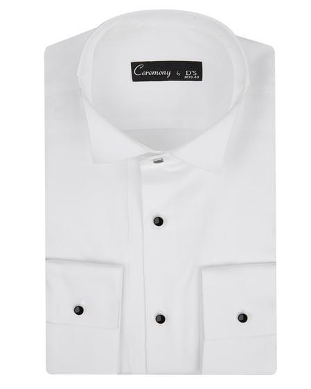 Ds Damat Slim Fit Beyaz Düz Gomlek - 8682060616425 | D'S Damat