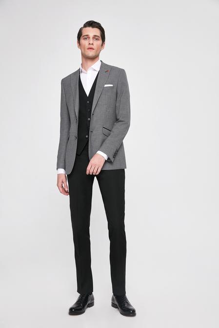 Twn Slim Fit Gri Kaz Ayağı Kombinli Takım Elbise - 8682060139573 | D'S Damat