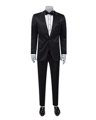 Ds Damat Slim Fit Slim Fit Siyah Desenli Takim Elbise - 8682060617996 | D'S Damat