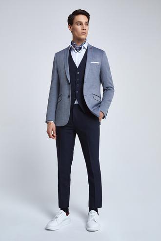 Twn Slim Fit Lacivert Armürlü Kombinli Takım Elbise - 8682445101355 | D'S Damat