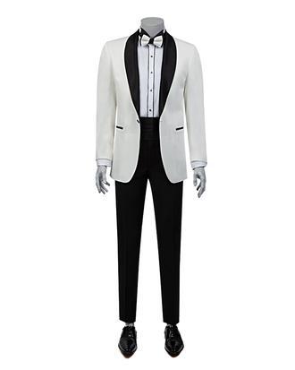 Ds Damat Slim Fit Slim Fit Beyaz Jakar Desenli Takim Elbise - 8682060618825 | D'S Damat