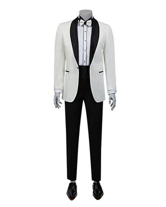 Ds Damat Slim Fit Slim Fit Beyaz Jakar Desenli Takım Elbıse - 8682060618825 | D'S Damat