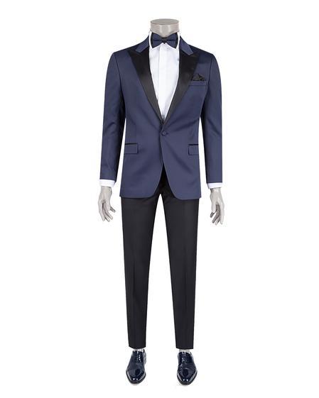 Ds Damat Slim Fit Lacivert Jakar Desenli Smokin Takım Elbise - 8682060619297 | D'S Damat