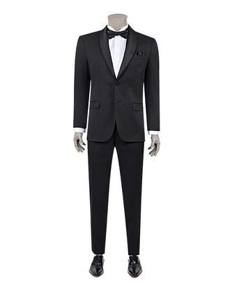Ds Damat Slim Fit Siyah Armürlü Smokin Takım Elbise - 8681779912736 | D'S Damat