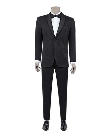 Ds Damat Slim Fit Slim Fit Siyah Armürlü Smokin Takım Elbise - 8681779912736 | D'S Damat